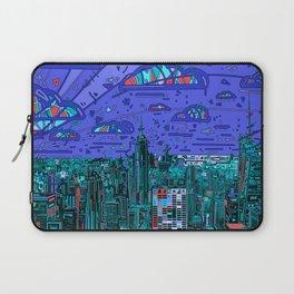 new york city panorama blue Laptop Sleeve