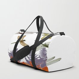 DRAGONFLIES & PURPLE-BROWN WOODLAND FERNS  ABSTRACT Duffle Bag