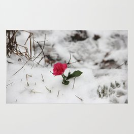 Rose in the snow Rug