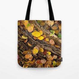 Log & Fall Leaves Tote Bag