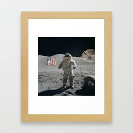 Astronaut on the Moon  - Vintage Space Photo Framed Art Print