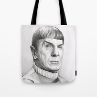 spock Tote Bags featuring Spock by Olechka