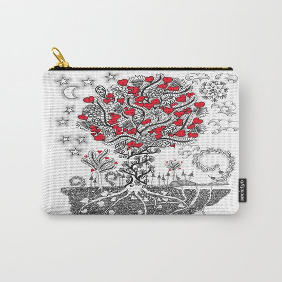 Zentangle Tree of Love - Illustration of Hearts and Love Carry-All Pouch