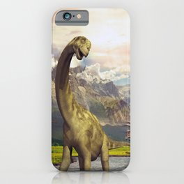 Dinosaurs in the river iPhone Case