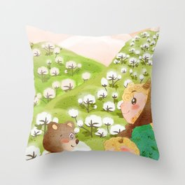 Girl And Cute Bear Throw Pillow