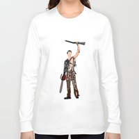 evil dead Long Sleeve T-shirts featuring The Evil Dead - Bruce Campbell by Ayse Deniz