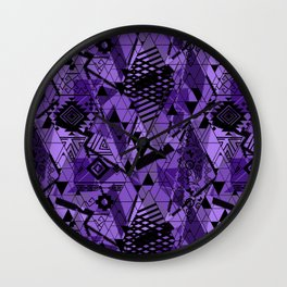 Abstract ethnic pattern in black, purple colors. Wall Clock