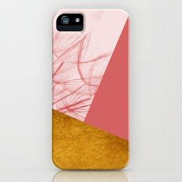 Dandelion Pink Gold Collage iPhone Case