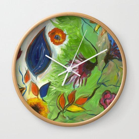 Flower Swirls Wall Clock