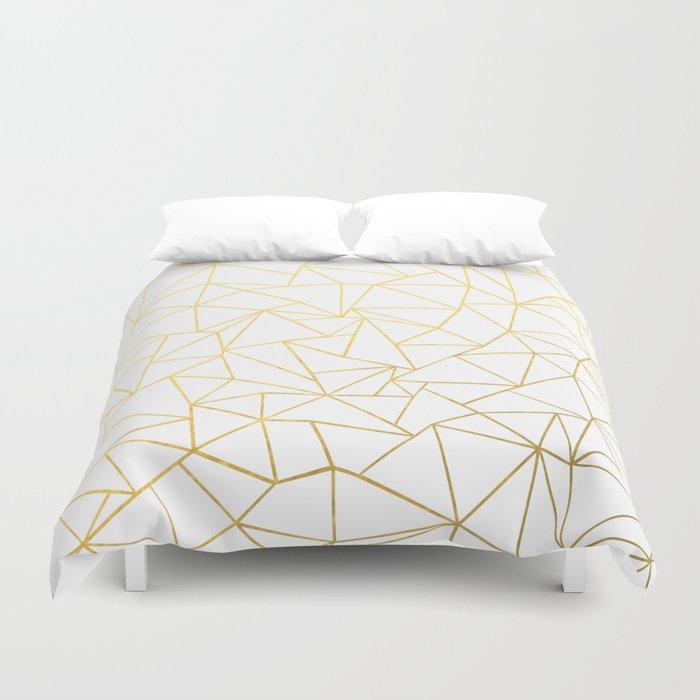 Ab Outline White Gold Duvet Cover