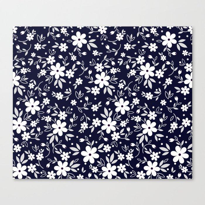 03 Ditsy Floral Pattern Dark Blue Background White Flowers Canvas