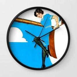 "Coles Phillips 'Fadeaway Girl' Illustration ""Blue Sailing"" Wall Clock"