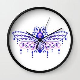 Death's Head Hawkmoth – Indigo & Pink Palette Wall Clock