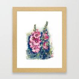 Watercolor Hollyhocks pink flowers Framed Art Print