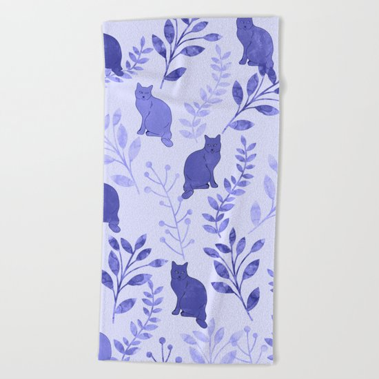 Watercolor Floral and Cat VII Beach Towel