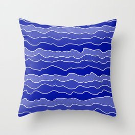 Four Shades of Blue with White Squiggly Lines Throw Pillow