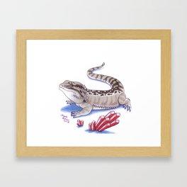 Bearded Dragon - Red Crystals Framed Art Print
