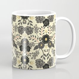 Gray, Black, Cream, Yellow & Red Sophisticated Floral Pattern Coffee Mug