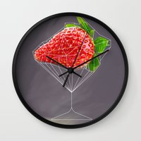 cocktail Wall Clocks featuring Strawberry cocktail  by Nobra
