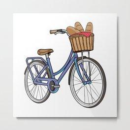 Womens bike with Basket & Bread Metal Print