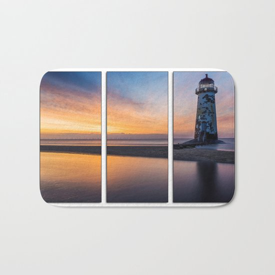 Sunset at the Lighthouse Tryptych Bath Mat