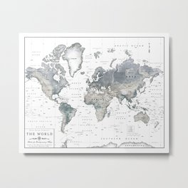 The World [Black and White Relief Map] Metal Print