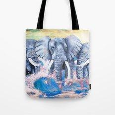 Elephants in crashing waves Tote Bag