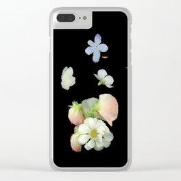 Sweet Pea, Daisy, Hydrangea Glitch Clear iPhone Case
