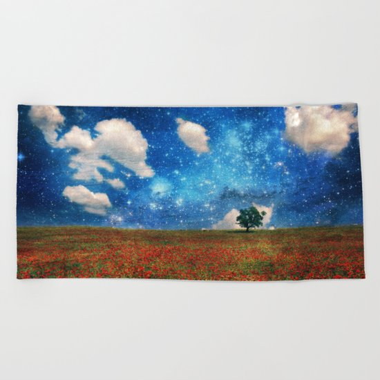 The Magical Night-Day Realm Beach Towel