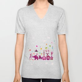 colorful circus carnival traveling in one row on white background Unisex V-Neck