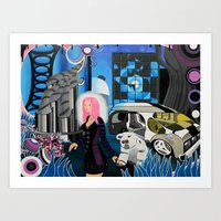 cyberpunk Art Prints featuring Cyberpunk Aesthetics 3 by thomasalbany