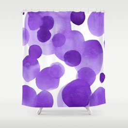 Aubergine Bubbles: Abstract purple watercolor painting Shower Curtain