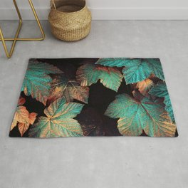 Copper And Teal Leaves Rug