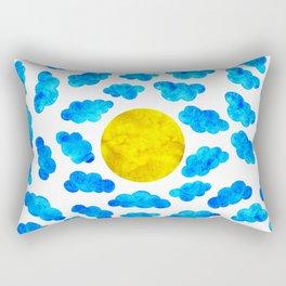 Cute blue cartoon clouds and sun. Rectangular Pillow