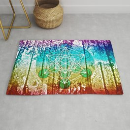 The Flower of Life & Metatron's Cube - The Rainbow Tribe Collection Rug