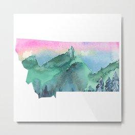 Watercolor Montana - Pink Sky Metal Print