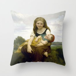 William Bouguereau - The Elder Sister, 1869 Throw Pillow
