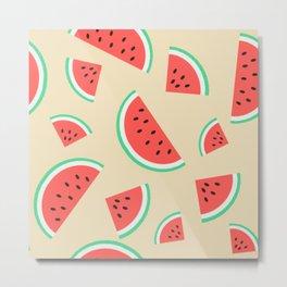 Watermelon Summer Pattern - pink Metal Print