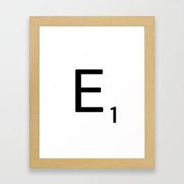 Letter E - Custom Scrabble Letter Wall Art - Scrabble E Framed Art Print
