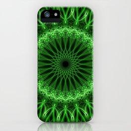 Glowing green mandala iPhone Case