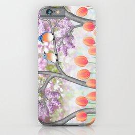 eastern bluebirds, tulips, & lilacs iPhone Case