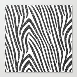 Black Glitter Zebra Stripes Canvas Print