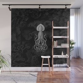 Squid1 (Black & White, Square) Wall Mural