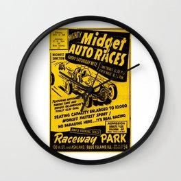 Midget Auto Races, Race poster, vintage poster Wall Clock