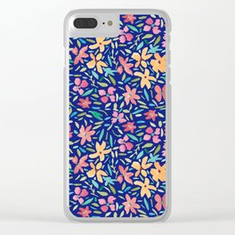 Clementine and Coral Watercolor Floral Dark Clear iPhone Case