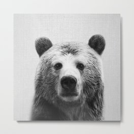 Bear - Black & White Metal Print