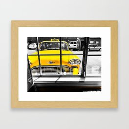 vintage yellow taxi car with black and white background Framed Art Print