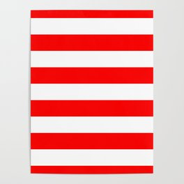 Australian Flag Red and White Wide Horizontal Cabana Tent Stripe Poster
