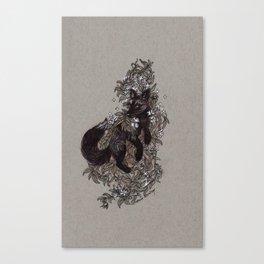 Black Fox and Star Flower Jasmine Tangle Canvas Print