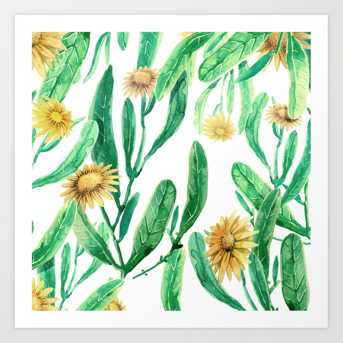 yellow flowers on sunny day Art Print